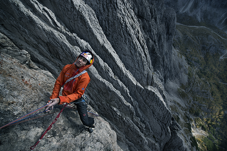 David Lama and Peter Ortner climbing in Osttirol, Austria.  October 2012