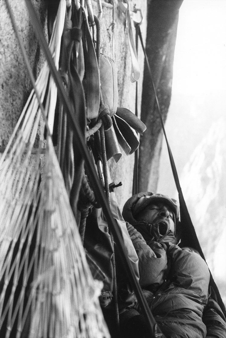 A climber rests during a climb in Yosemite National Park.